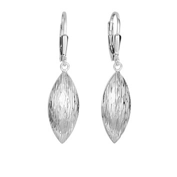 Silver with Rhodium Finish 9.3X39mm Shiny Diamond Cut Puffed Marquise Shape Leverback Earring