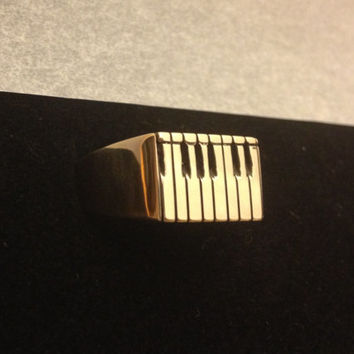 Piano Keyboard Design on Solid Brass Ring ( Hand Carved ) Music Instrument