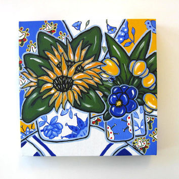 French Blue Still life Painting Original Acrylic on Canvas, Sunflowers and Yellow tulips