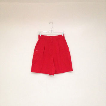 Vintage 1970s Bright Red High Waisted Catalina Preppy Sailing Shorts