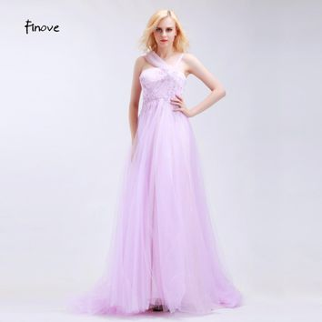 Finove Lavender Tulle Halter Prom Dresses Sleeveless A-Line Elegant Floor Length 2017 Appliques Beading Flowers Bridesmaid Gowns