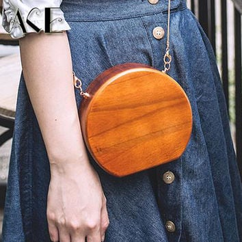 Fashion Design Circular Ellipse Wooden Handbags Casual Women Ladies Evening Bags
