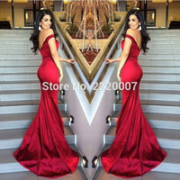 Sexy Red Long Mermaid Prom Dresses 2016 New Fashion Off to Shoulder Sweep Train Zipper Princess Evening Party Dress Gowns Custom