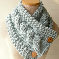 Knit Scarf Cable Cowl Glacier Light Blue by WindyCityKnits on Etsy