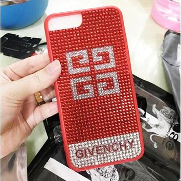 Givenchy diamond-studded iphone6s rhinestones tide brand 8plus luxury mobile phone case F0493-1 Red