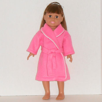 18 inch Doll Hot Pink Fleece Robe with White Trim fits American Girl Doll