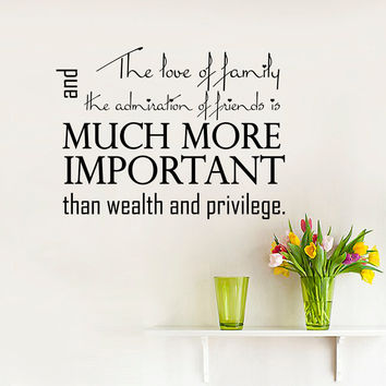 Wall Decal Quote Family And Friends Important Than Wealth Design Wall Decals Bedroom Living Room Dorm Kids Vinyl Stickers Home Decor 3959