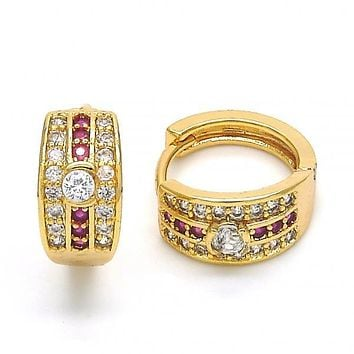 Gold Layered 02.267.0063.15 Huggie Hoop, with Ruby and White Cubic Zirconia, Polished Finish, Golden Tone