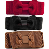 Women Girls Graceful Bowknot Elastic Lovely Belt With Buckle Waistband 3713 Apparel & Accessories = 1651099076