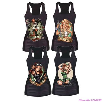 Summer 3d Lovely Princess Sports Tank Tops Harley Quinn Yoga Shirts Rock style Women Running Shirts Quick-Drying