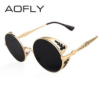 AOFLY Steampunk Vintage Sunglass Fashion round sunglasses women brand designer metal carving sun glasses men oculos de sol S1635
