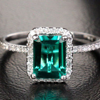 2.56ct EMERALD & H/SI DIAMOND SOLID 14K WHITE GOLD HALO ENGAGEMENT WEDDING RING