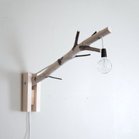 exposed bulb woodland wall/desk lamp - natural white birch wood