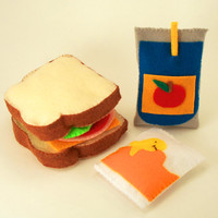 Lunch Time Sandwich Juice and Goldfish Snack Felt Food