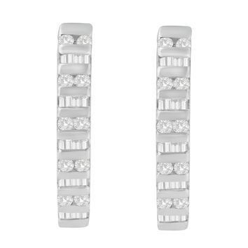 10k White Gold 1 CTW Round and Baguette Diamond Hoop Earrings(I-J, I2-I3)