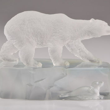 Polar Bear & Sea Lion on Iceberg Clear and White Crystal Figurine Hand-Crafted Quality Glass
