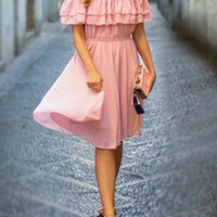 Pink Double-deck Ruffle Boat Neck Short Sleeve Midi Dress