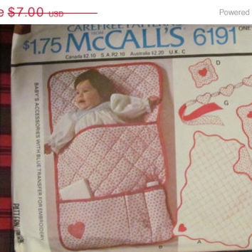 SALE Uncut 1970's McCall's sewing Pattern, 6191! Baby Accessories/Transfers, Quilt/Appliques/Bunting/Pin cushion/Door sign/pillow sham