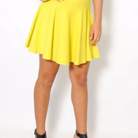 (amd) Knit yellow skater skirt