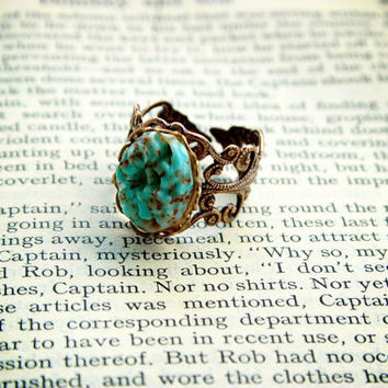 Vintage Japanese Turquoise & Brown Glass Floral Carved Cabochon Ring