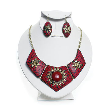 Queen Nefertiti Ruby Necklace and Earring Set