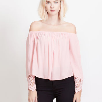 Flowy Crochet Detail Off Shoulder Long Sleeve Crop Top