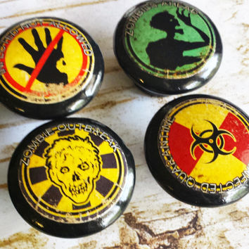 Handmade Zombie Apocalypse Knobs Drawer Pulls Set of 6, Dresser Knob Pulls, Walking Dead, Zombie Apocalypse Essential Signs Cabinet Knobs