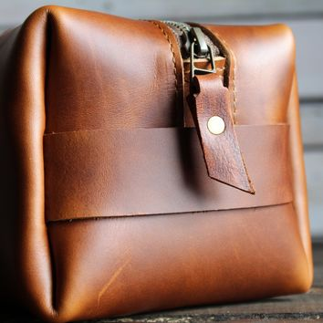 Leather Dopp Kit | Handmade | Leather Travel Bag