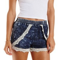 Chambray Acid Wash Chambray Tulip Shorts by Charlotte Russe