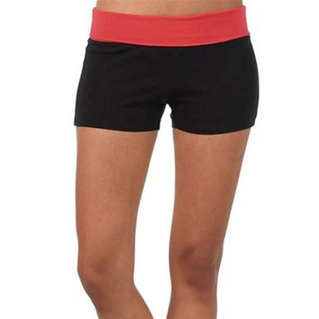TS#501 Women Sports Gym Workout Waistband Skinny Yoga High Waist Shorts Free Shipping