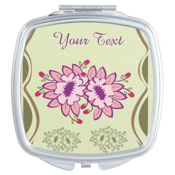 Pink Purple Flowers in Green Frame Compact Mirror