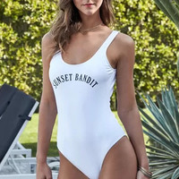 Letter Print One Piece Swimsuit