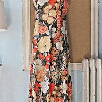 Vintage 1960s Metallic + Floral Maxi Dress