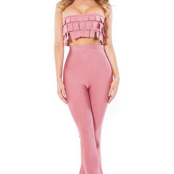 Pink Frilled Crop Top High Waist Pant Set