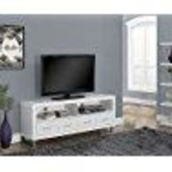 Monarch Specialties White Hollow-Core TV Console with 4 Drawers, 60-Inch