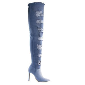 Worship39S Blue Jean Denim Torn / Destroyed Jean Boot, OTK Over Knee Heel Boot, Fray Trim