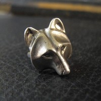 Wolf Mask Ring in Solid White Bronze