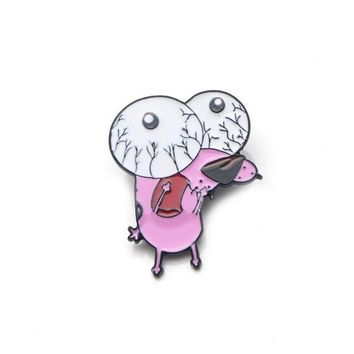 Free Big Eyed Courage The Cowardly Dog Cartoon Network Enamel Pin Just Pay Shipping