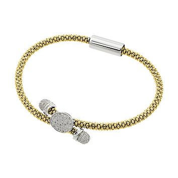 .925 Sterling Silver Rhodium &  Gold Plated Circle Micro Pave Clear Cubic Zirconia Beaded Italian Bracelet