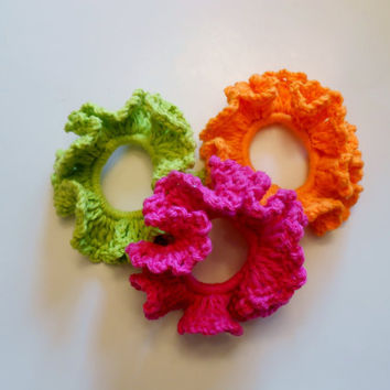 Crochet Scrunchie, Pony Tail Holder, Hair Accessories, Orange, Green, Pink