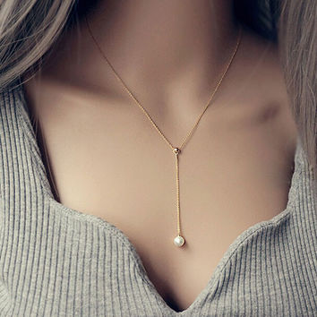 Womens Pearl Pendant Necklace Gift-111
