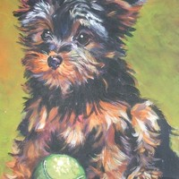 Yorkie Yorkshire Terrier art CANVAS print of LA Shepard painting 8x10 dog art