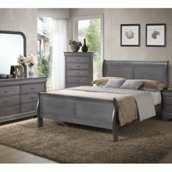 Solid Wood Sleigh Bedroom Set - Gray