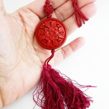 Vintage Cinnabar Red Cord Sweater Necklace Hot Pink Tassel Chinese Knot