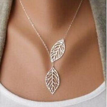 New Gold And Sliver Leaf Pendants Necklace