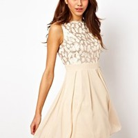 Little Mistress Foil Lace Baby Doll Prom Dress at asos.com
