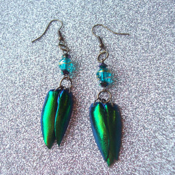 Mystic - Beaded Jewel Beetle Wing Earrings