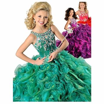 2017 Pageant Dress for Girls Glitz Ball Gown Scoop Organza Crystals Ruffles Flower Girl Dresses for Weddings Prom Dress Children