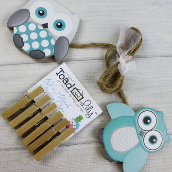 Teal and Gray Owls Wooden Gender Neutral Wall Art DISPLAY CLIPS for Kids Bedroom Baby Nursery Playroom AC0009