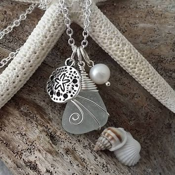 Handmade in Hawaii, Wire wrapped Genuine surf tumbled sea glass necklace. sand dollar charm, Fresh water pearl, Beach jewelry.